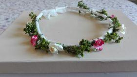 corona flores secas verdes