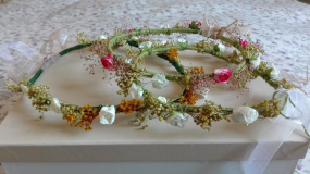 coronitas lino y flores secas