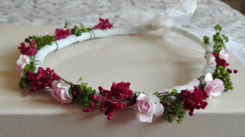 corona flores secas verde granate