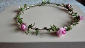 coronita hojas verde y rosa