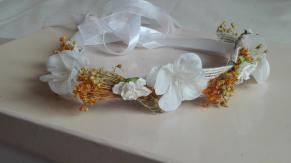 coorna arpillera blanca flor seca ocre