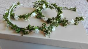 coronitas flores secas verdes y paniculata blanca